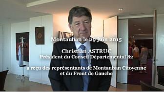 Christian ASTRUC Président du Conseil Départemental 82  a reçu des représentants de Montauban Citoyenne et du Front de Gauche