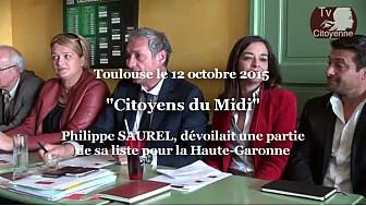 Citoyens du Midi : Philippe SAUREL présentait les 16 premiers candidats pour la Haute-Garonne  @MidiCitoyens #TvLocale_fr
