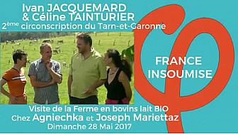 Elections législatives 2017 dans la 2ème en Tarn-et-Garonne: Ivan JACQUEMARD et Céline TAINTURIER visitent une ferme bovins lait BIO.