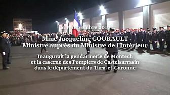 Jacqueline GOURAULT Ministre auprès du Ministre de l'Intérieur a inauguré la Caserne de Gendarmerie de Montech et la caserne des Pompiers de Castelsarrasin le 17 nov 2017 @j_gourau