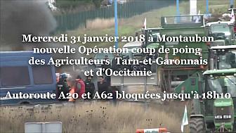 Les Agriculteurs du Tarn-et-Garonne assistés des Départements d'Occitanie ont bloqué l'A20 et l'A62 ce mercredi 31 janvier 2018 @Occitanie @tarnetgaronne_CG @FNSEA