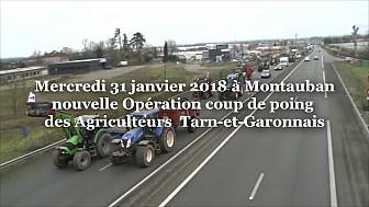 Les Agriculteurs d'Occitanie ont paralysé la Rocade de Montauban dès 11h30 ce mercredi 31 janvier 2018 @Occitanie @tarnetgaronne_CG @FDSEA