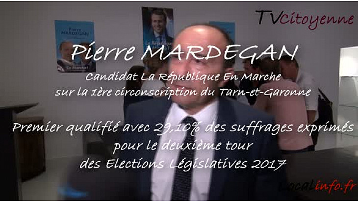 Pierre MARDEGAN candidat La République En Marche sur la 1ère circo du Tarn-et-Garonne premier qualifié pour le second tour @PierreMardegan