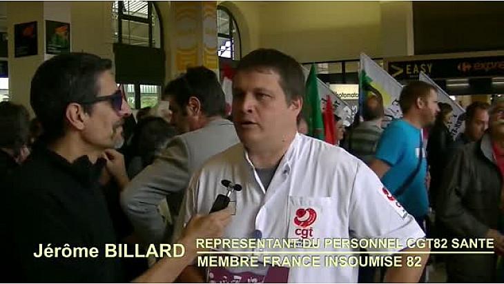 #Manifestation Intersyndicale de la fonction publique à @Montauban le 22 mai 2018 : Interview de Jérôme Billard #CGT82 #Santé et #France_Insoumise_82