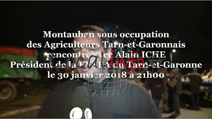 Les Agriculteurs Tarn-et-Garonnais bloquent Montauban et Castelsarrasin depuis deux jours. Alain ICHE au micro de Michel Lecomte du Réseau Social TvLocale @FDSEA @tarnetgaronne_CG