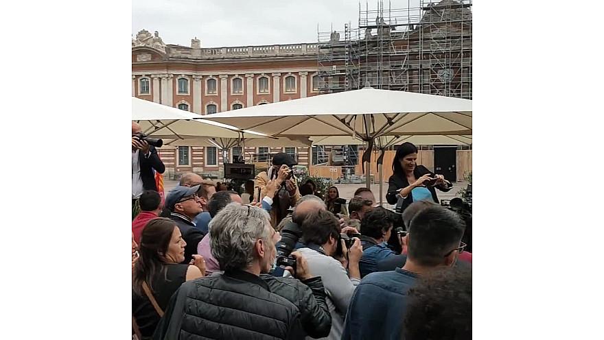 Carole Delga gagnante des Elections Régionales 2021 d'Occitanie était au Florida place du Capitole à Toulouse le soir des élections